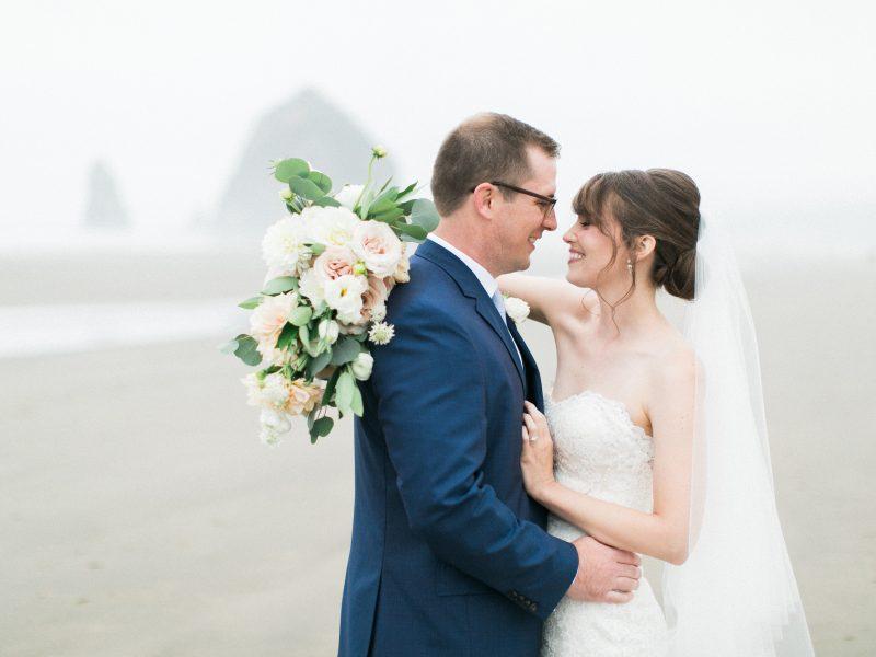 Wedding photos in Cannon Beach, Oregon.