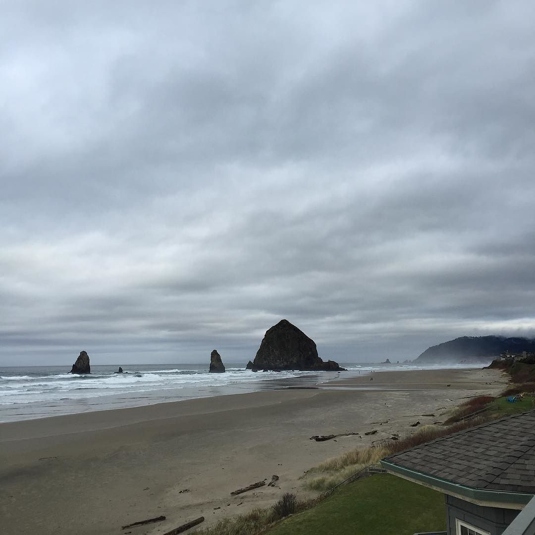Stephanie Inn Dining Room: Haystack Rock-Cannon Beach, OR On A Cloudy Windy Day