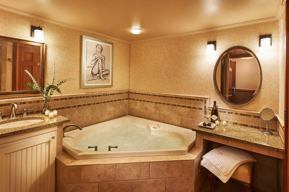 Spa inspired tub to relax in.