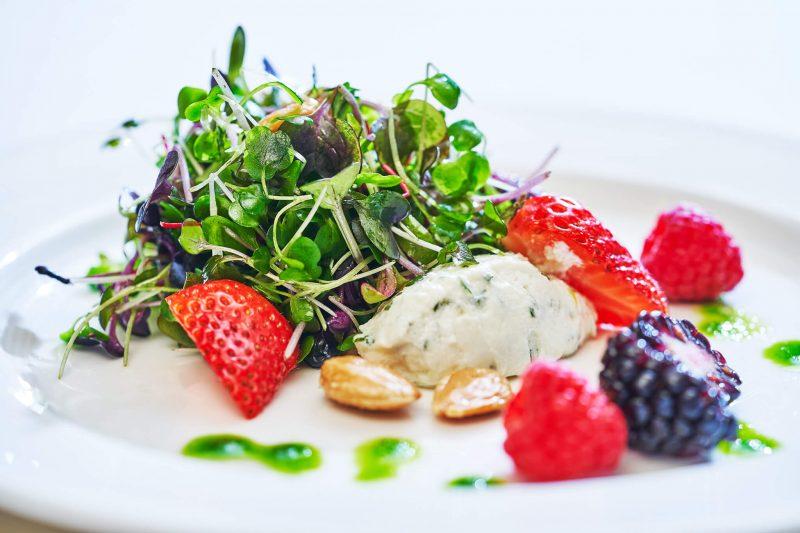 Fresh salad and berries