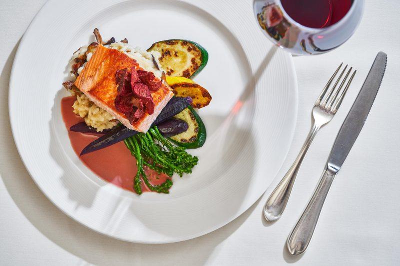Salmon dinner at the Stephanie Inn